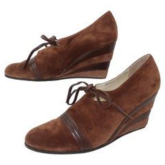 Ferragamo Creations Limited Edition 1940's Style Brown Suede Wedge Shoes Sz 8