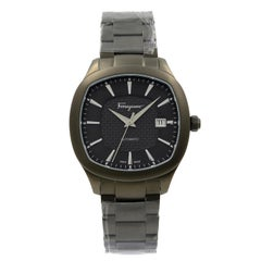 Ferragamo Gunmetal PVD Black Dial Steel Automatic Mens Open Back Watch FFW050017