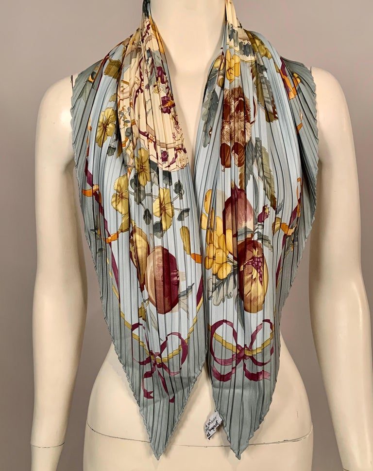 Brown Ferragamo Pleated Silk Scarf with Cream China and Fruit Motif For Sale
