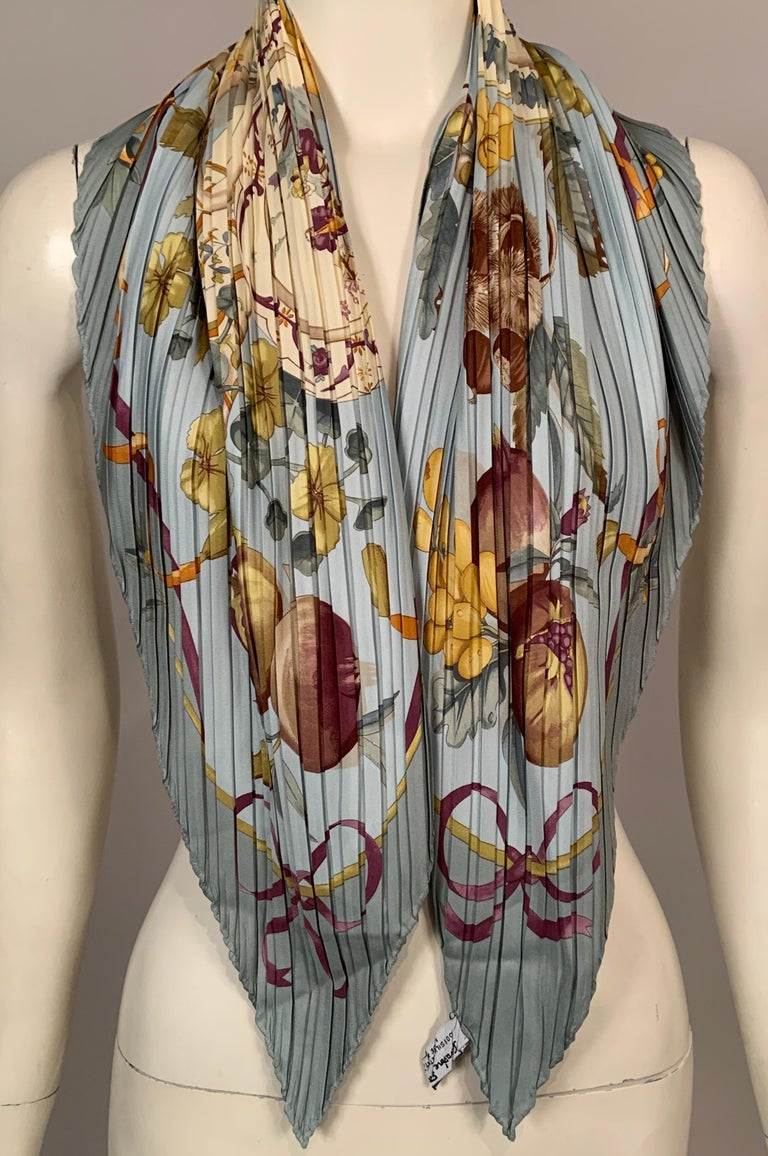 Ferragamo Pleated Silk Scarf with Cream China and Fruit Motif In Excellent Condition For Sale In New Hope, PA