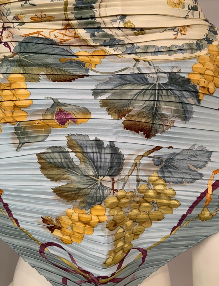 Ferragamo Pleated Silk Scarf with Cream China and Fruit Motif For Sale 2