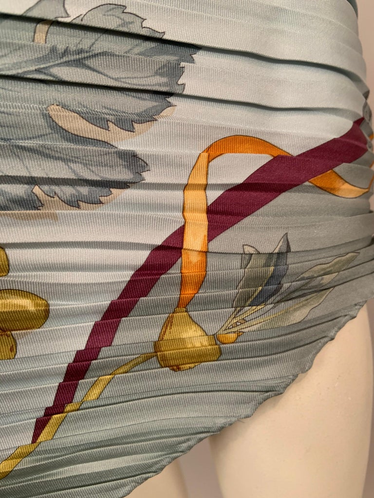 Ferragamo Pleated Silk Scarf with Cream China and Fruit Motif For Sale 4