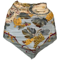 Ferragamo Pleated Silk Scarf with Cream China and Fruit Motif