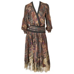 Ferragamo Printed Silk, Lurex and Lace Ensemble