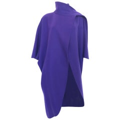 Ferragamo Purple Wool Cape Style Coat / I Magnin Department Store