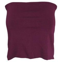 Ferragamo Silky Burgundy Knit Stretch Bandeau Top Large