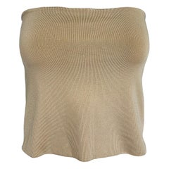 Ferragamo Silky Taupe Knit Stretch Bandeau Top Large