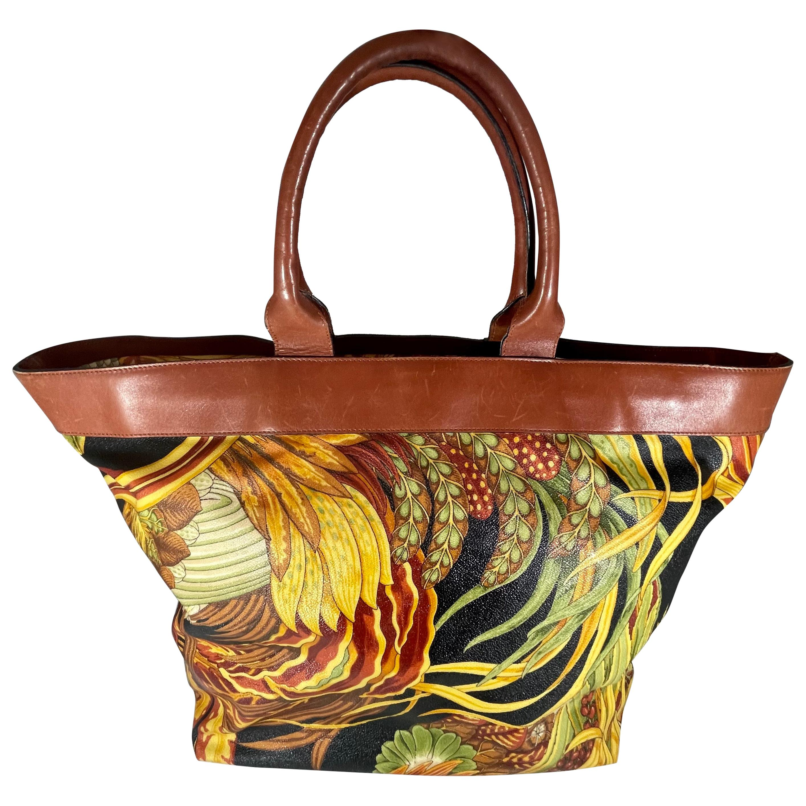 Ferragamo Travel print Tote bag Leather/Nylon Multicolor Large + matching pouch