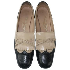 Ferragamo Two Tone Spectator Black Leather Kiltie Shoes, Sz 8 AA