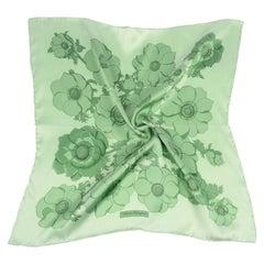 Ferragamo Vintage Green Floral Silk Scarf