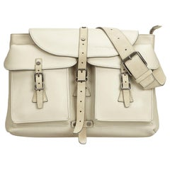 Ferragamo White  Leather Backpack Italy