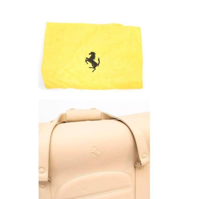 Ferrari Beige Large Leather Suitcase For Sale 6