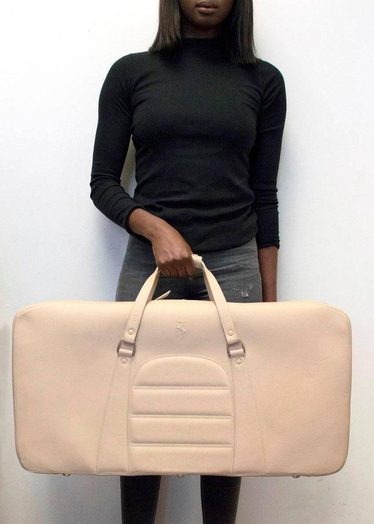 Ferrari Beige Large Leather Suitcase For Sale 7