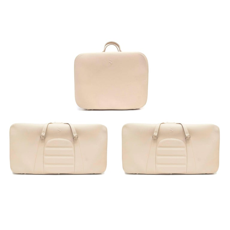 Ferrari Beige Large Leather Suitcase For Sale 8