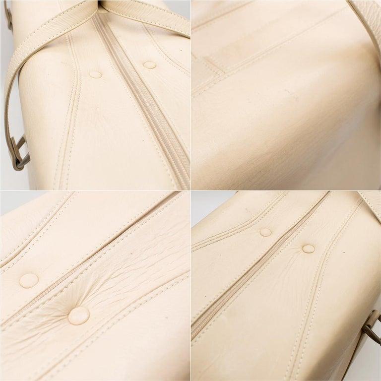 Ferrari Beige Large Leather Suitcase For Sale 9
