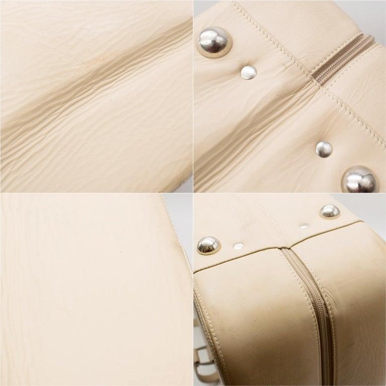 Ferrari Beige Large Leather Suitcase For Sale 13