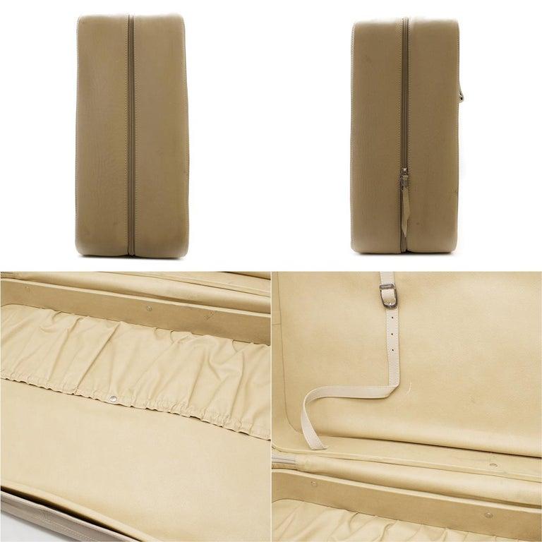 Ferrari Beige Large Leather Suitcase For Sale 16