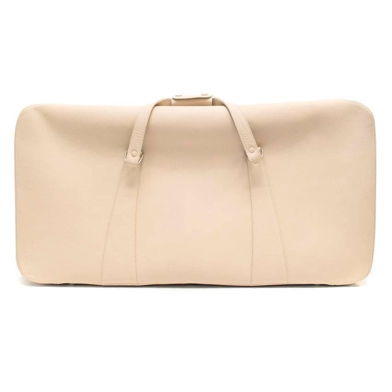 Ferrari Beige Large Leather Suitcase In Good Condition For Sale In London, GB