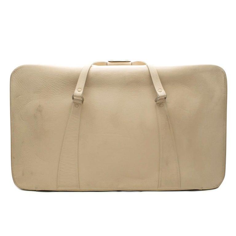 Women's or Men's Ferrari Beige Large Leather Suitcase For Sale