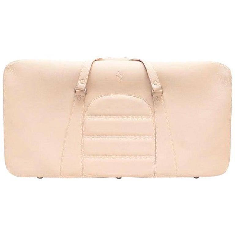 Ferrari Beige Large Leather Suitcase For Sale