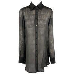 FERRE by GIANFRANCO FERRE Size 6 Black Polka Dot Silk Chiffon Blouse