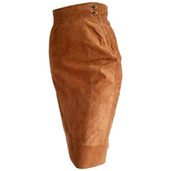 "FERRÉ ""New"" Light Brown Suede Skirt - Unworn"
