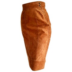 "FERRÉ ""New"" Light Brown Suede Skirt - Unworn"