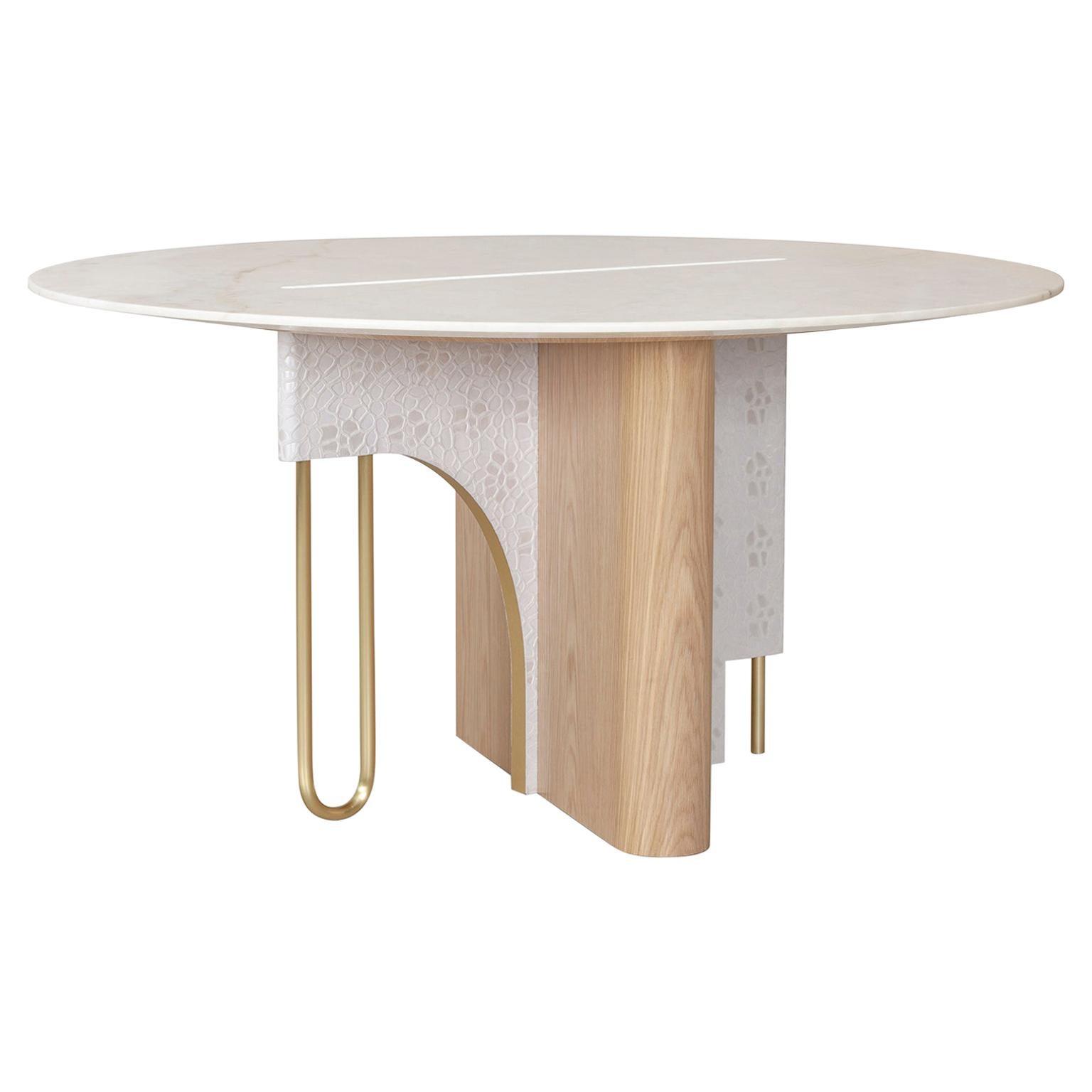 Ferreirinha 6-Seat Round Dining Table Calacatta Bianco Brushed Brass Oak Leather