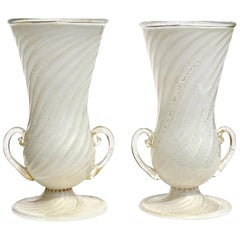 Ferro Toso Barovier Murano White Gold Flecks Italian Art Deco Glass Flower Vases