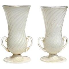 Ferro Toso Barovier Murano White Gold Flecks Italian Art Deco Glass Flower Vases