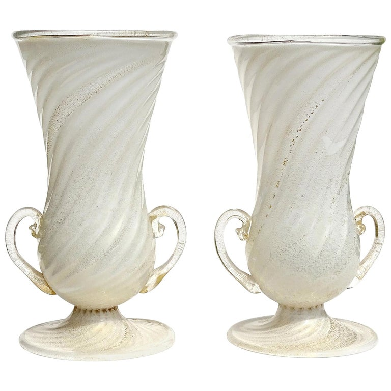 Ferro Toso Barovier Murano White Gold Flecks Italian Art Deco Glass Flower Vases For Sale