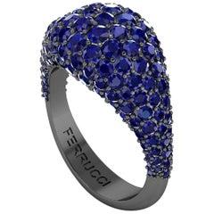 Ferrucci 2.6 Carat Blue Sapphires Dome Ring in 18 Karat Black Gold