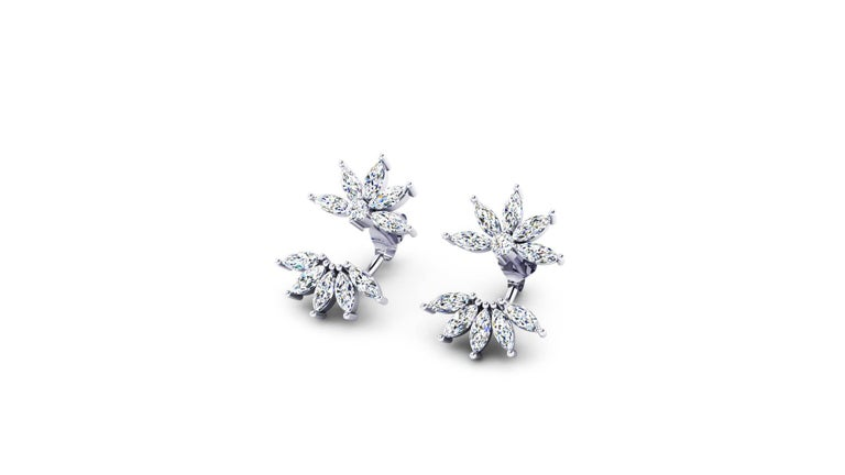FERRUCCI 2.60 carats Marquise shape Diamonds Star Flower earrings handmade in Platinum 950 in New York by Italian master jeweler, modern and chic design, perfect for a young woman's with classy taste, ideal to wear from office to evening out,
