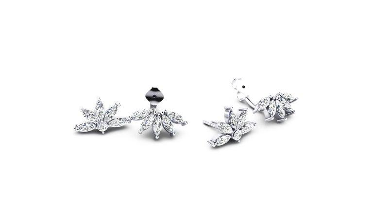 Modern Ferrucci 2.60 Carat Marquise Diamonds in 18k white gold Original Flower Earrings For Sale