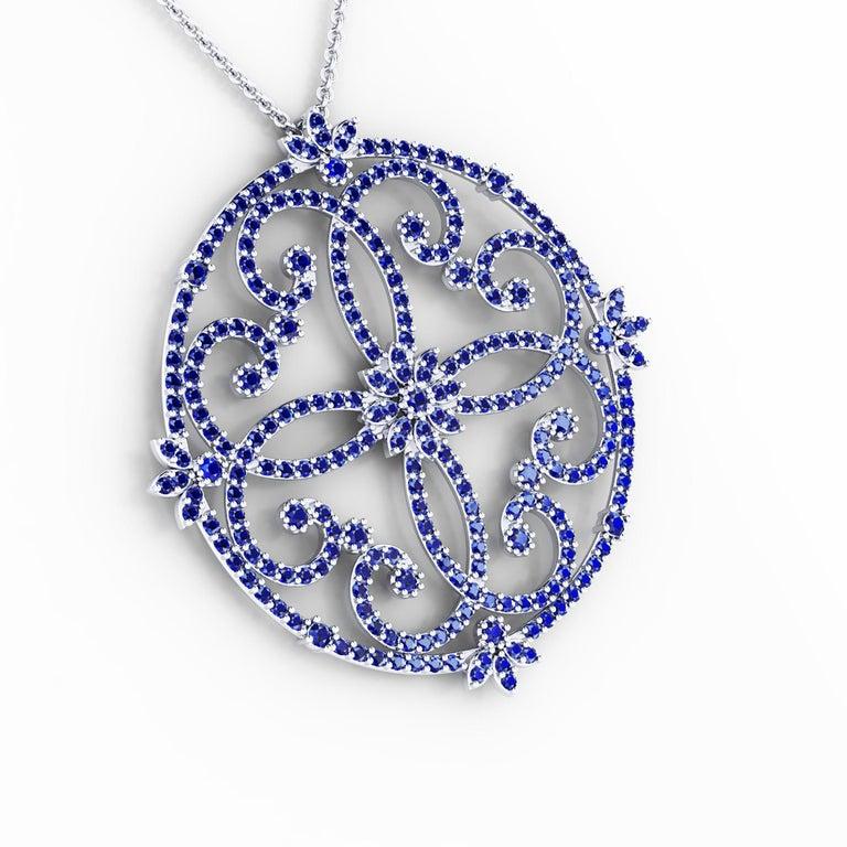 Round Cut 3 Carat Blue Sapphires Necklace Handmade in 18 Karat white Gold For Sale