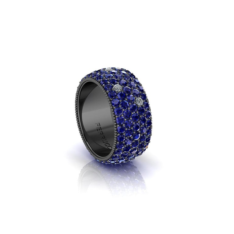 FERRUCCI Wide blue sapphires and diamonds band, with a slightly dome feeling, a wrap of sparkling intense blue sapphires, for an approximate sapphire's total carat weight of 4.70 carats, and 0.30 carats of white bright diamonds, hand made in New