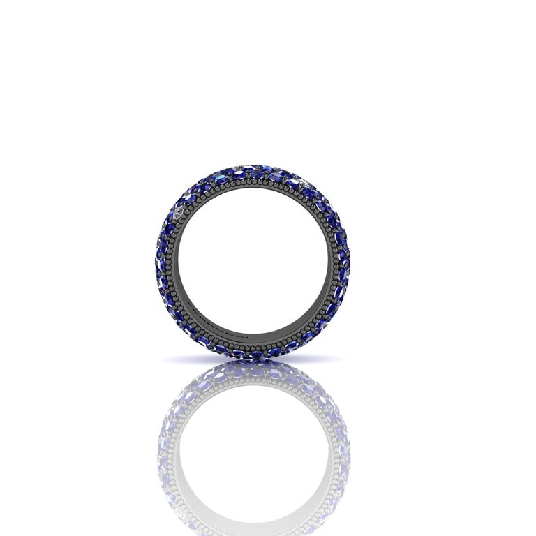 Modern Ferrucci 4.70 Carat Blue Sapphires and Diamonds Ring in 18 Karat Black Gold For Sale