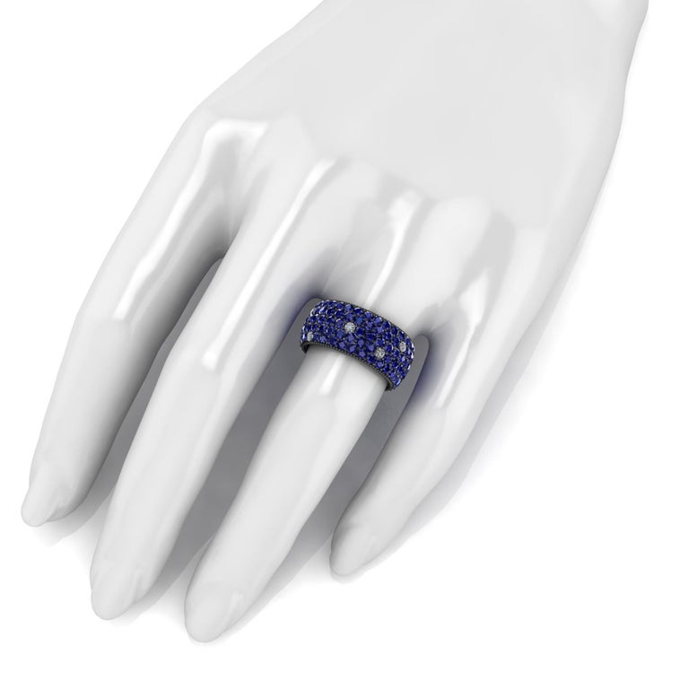 Ferrucci 4.70 Carat Blue Sapphires and Diamonds Ring in 18 Karat Black Gold In New Condition For Sale In New York, NY