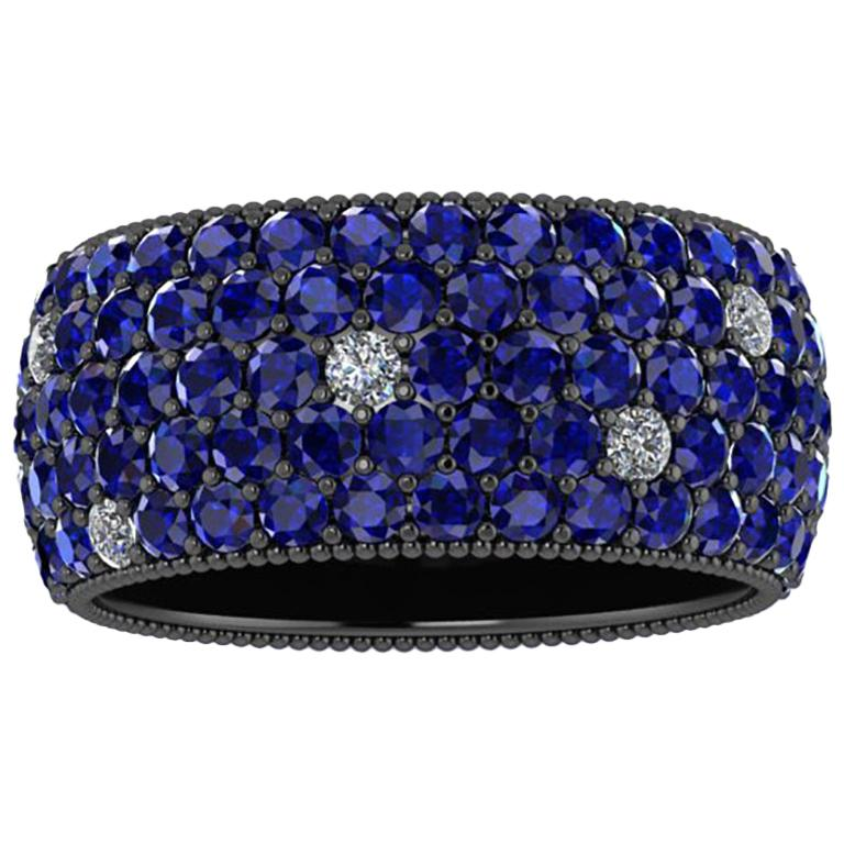4.70 Carat Blue Sapphires and Diamonds Ring in 18 Karat Black Gold