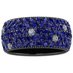Ferrucci 4.70 Carat Blue Sapphires and Diamonds Ring in 18 Karat Black Gold