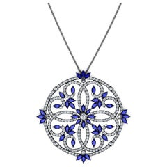 Ferrucci 4.95 Carats Blue Sapphires and Diamonds Necklace in 18 Karat black Gold