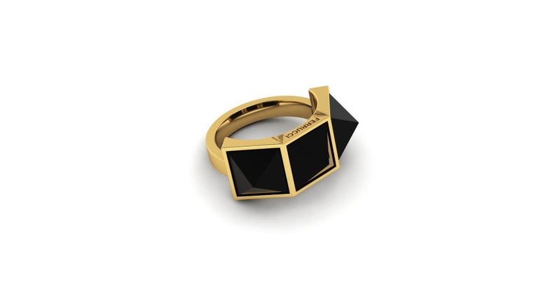 Pyramid collection, the Three Pyramid Black Onyx ring in 18k yellow gold, manufactured in New York.  Onyx is believed to offer personal protection and relationship harmony and The Pyramid symbolizes bigger consciousness of strength and energy.  For