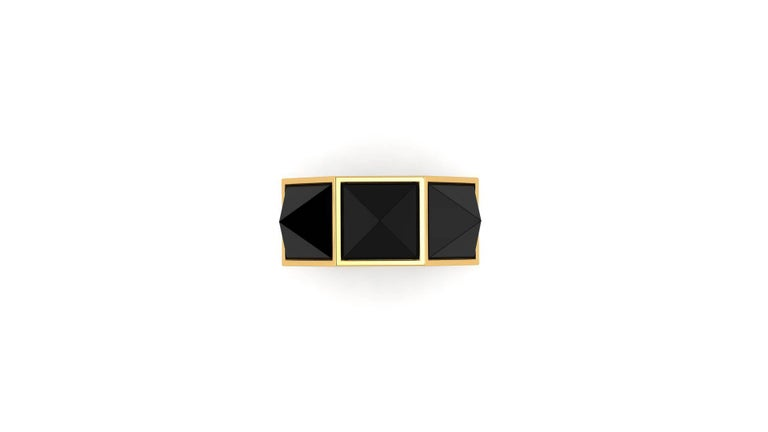 Black Onyx Three Pyramids in 18k Yellow Gold Ring  For Sale 1