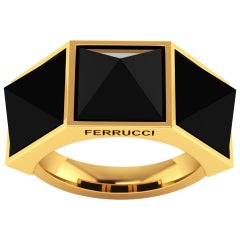 Ferrucci Black Onyx Three Pyramid Yellow Gold Ring