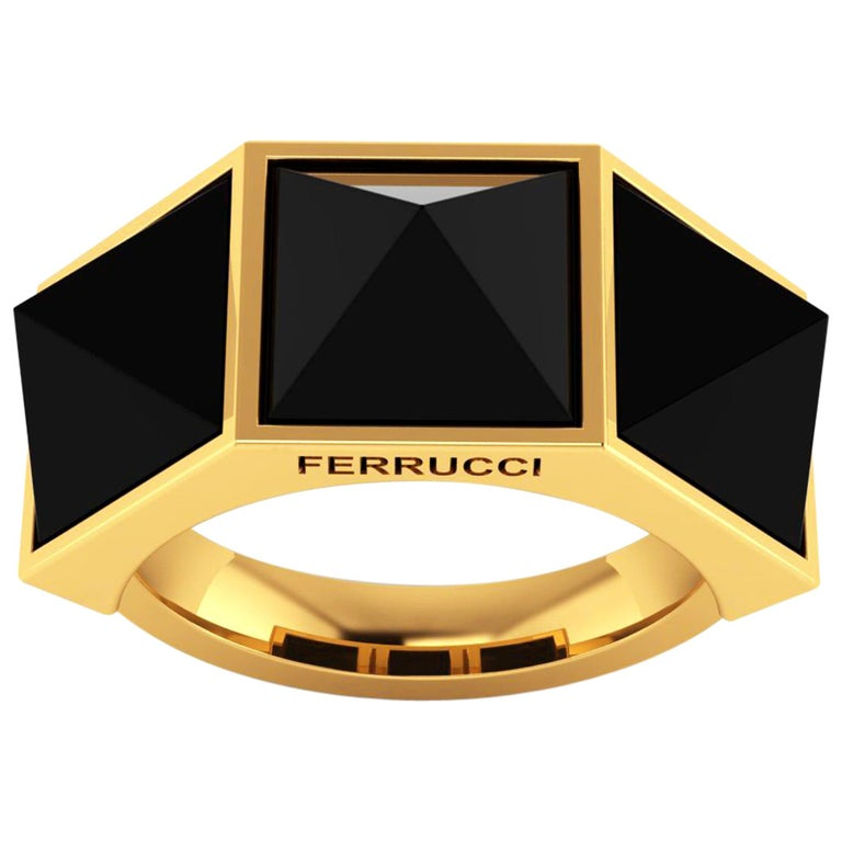 Black Onyx Three Pyramids in 18k Yellow Gold Ring  For Sale