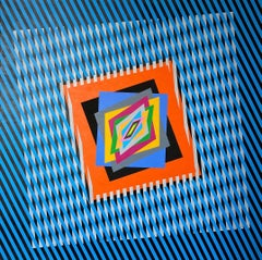 "Colorful, bright, kinetic acrylic painting ""The Emotion on the Color in Op-art"""