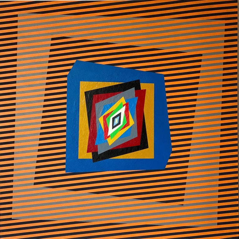 """Ferruccio Gard Abstract Painting - Colourful, op-art, modern painting """"Movimenti Cinetici"""""""