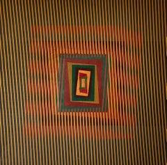 "Kinetic, geometric op-art modern painting ""Autunno Cinetico"""