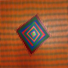 """Op-art contemporary colourful acrylic painting """"Movement as a Message"""""""