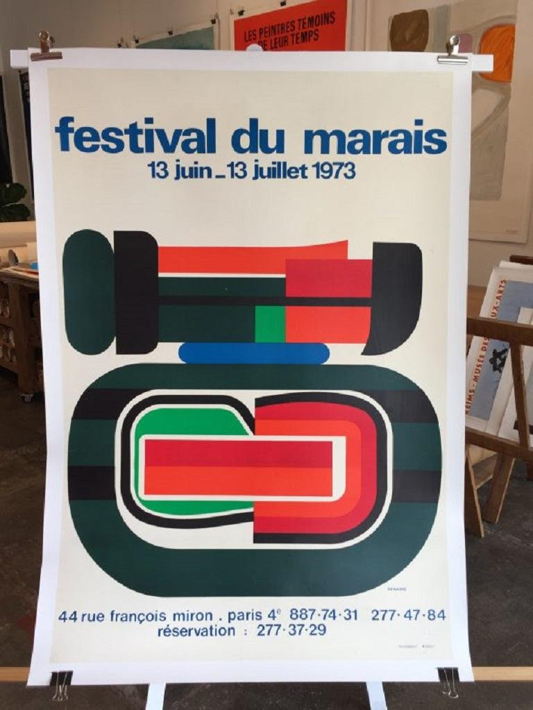 A unique and very graphic poster for the 'festival du marais' by artist Jean Dewasne.